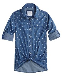 Polka Dot Denim Shirt | Girls Shirts Clothes | Shop Justice