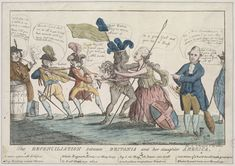 The reconciliation between Britania and her daughter America      An American Indian rushes into the arms of Britannia while a Spaniard and Frenchman try to keep her away. A Dutchman looks on to see who will win the struggle. Catherine the Great had offered to mediate and this artist obviously hoped something would come of it. Colley, Thomas, fl. 1780-1783     [ca. May 1782]