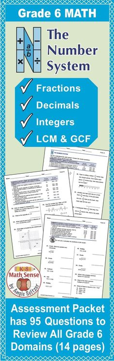 Review Grade 6 math topics including fractions, decimals, integers, LCM, GCF, and more in this comprehensive review packet. Student can check off the list of math goals as they master them. This is Form C and three parallel forms are available.
