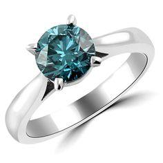 0.50 Karat blauer Diamantring- Solitär aus 585er Weißgold  #diamantring #diamant #ring #weissgold #verlobungsring #brillant #blauer #blauer_diamant