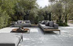 Canapé de jardin composable rembourré de style contemporain Collection GRID by Gloster | design Henrik Pedersen