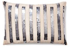 Stripe 14x20 Sequenced Pillow, Silver on OneKingsLane.com