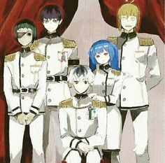 Mutsuki, Urie, Haise, Saiko and Shirazu