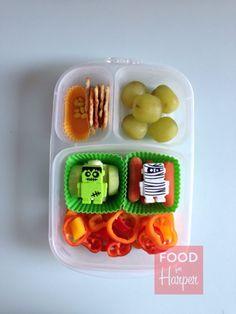 Monster Veggies :: Halloween lunch bento @easylunchboxes #foodforharper