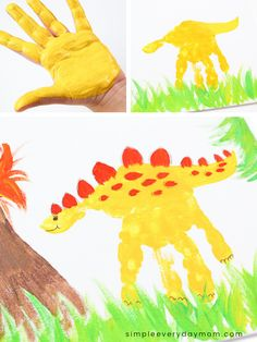 This dinosaur handprint art is the perfect art project for boys to make! It uses paint so it's also a fun sensory activity that can be done at home or at school. # home school art projects Dinosaur Handprint Art Activity For Preschool & Kindergarten Dinosaur Art Projects, Preschool Art Projects, Preschool Art Activities, Dinosaur Activities, Daycare Crafts, Crafts For Boys, Art For Kids, Kindergarten Art Activities, Art Projects For Kindergarteners