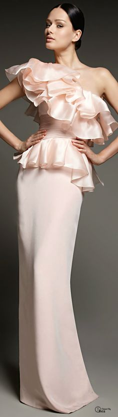 Notte By Marchesa Pink Oneshoulder Sculptural Ruffled Gown