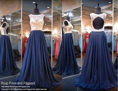 Navy Chiffon Flowing Prom Dress-High Beaded Neckline-Open Back-116CLAR027370