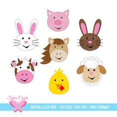 Farm Animal Clipart Set Digital Clipart Bunny by SelenaCreates