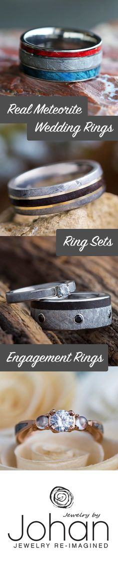 Looking for a wedding band that is out of this world? Browse our huge selection of genuine meteorite rings, paired with other unique materials like dino bone, wood, and naturally shed deer antler.