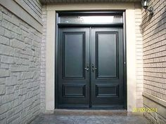 Executive Doors-Front Entry Doors-Fiberglass Doors-Smooth Exterior Solid Fiberglass Double Doors with Transom installed in Thornhill Exterior Front Doors, Garage Door Design, Double Doors, Windows And Doors, Fiberglass Door, Double Front Doors, Front Door, Apartments Exterior, Exterior Doors