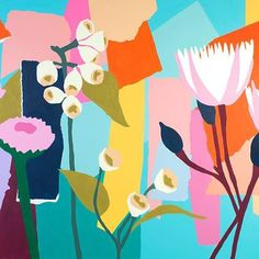 The mural I recently completed for a project I worked on with advertising agency DDB Sydney, x metres. I painted this live at a conference and will be showing you the time lapse shortly. Art Floral, Art And Illustration, Graffiti, School Murals, Atelier D Art, Mural Painting, Paintings, Abstract Flowers, Flower Art