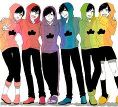 Todomatsu, Osomatsu, Ichimatsu, Karamatsu, Choromatsu and Jyushimatsu Matsuno Anime Chibi, Kawaii Anime, Anime Manga, Anime Art, Dark Anime Guys, Anime Love, Onii San, Anime Siblings, Osomatsu San Doujinshi