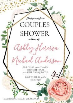 """Modern Gold Pink Geometric Couples Shower Invite. Size: 5"""" x 7"""" Make custom invitations and announcements for every special occasion! Choose from twelve unique paper types, two printing options and six shape options to design a card that's perfect for you. Size: 5"""" x 7"""" (portrait) or 7"""" x 5"""" (landscape) Standard white envelope included Add photos and text to both sides of this flat card at no extra charge Use the """"Customize it!"""" CLICK IMAGE FOR MORE DETAILS. Couples Wedding Shower Invitations, Custom Invitations, Colored Envelopes, White Envelopes, I Do Bbq, Couple Shower, Envelope Liners, Paper Texture, Invite"""