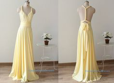 Long bridesmaid dresses Light yellow long by TinnaInfinityDresses, $98.00