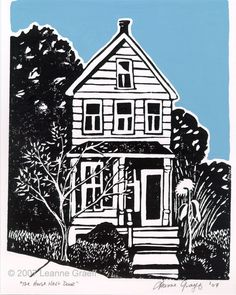 The House Next Door   Leanne Graeff   Hand pulled linocut print   The linoleum block is cut by hand, then inked and printed individually, so every print is slightly different. Water-based ink on white Canson acid free Bristol Board was used   The sky is painted by hand after printing with gouache