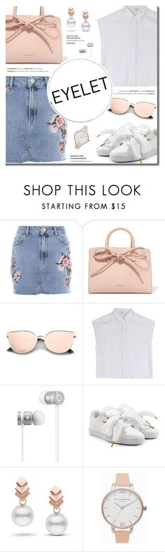 """""""Peek-A-Boo: Eyelet"""" by fashion-bea-16 ❤ liked on Polyvore featuring Topshop, Mansur Gavriel, rag & bone, Beats by Dr. Dre, Puma, Escalier, Olivia Burton, eyelet and polyvoreeditorial"""