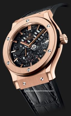 Hublot's Classic Fusion Extra-Thin Skeleton Watch Skeleton Watches, Dream Watches, Cool Watches, Fancy Watches, Men's Accessories, Hublot Watches, Men's Watches, Wrist Watches, Bracelets