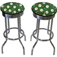2 Golf Ball & Tee 29'' Specialty Chrome Barstools Bar Stools by The Furniture Cove. $144.87. Chrome Metal Finish. Set of 2 Bar Stools. These are new 29'' chrome barstools that have footrests and a swivel seat. The seats feature Golf Ball & Tee upholstery. The sides of the seat have nice metal work and there are feet protectors on the bottom of each leg. These are great for kitchen or shop, or spread around a game room or patio setting. In this listing you will receive 2 chr...
