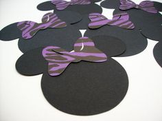 Minnie Mouse Heads with Purple Zebra Print Bows