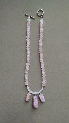 Rose Quartz - Rainbow Moonstone Necklace - Raw Ruby Pendant - Rose Quartz…