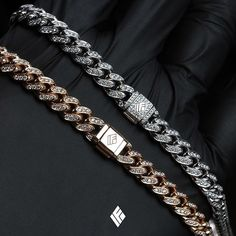 Solid 14K Rose & White Gold 7mm Cuban Link Chains Fully Iced Out In VS+ White Diamonds. Specially made for @jacksonwang852g7 & @mark_tuan  #JacksonWang #MarkTuan #Got7 #CustomJewelry #IFANDCO