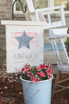 Patriotic Vintage Garden Flag tutorial, featuring a ink transfer technique by Ella Claire.
