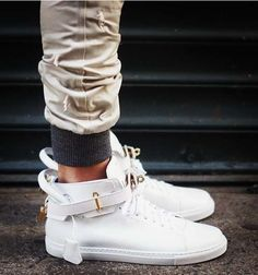 The Buscemi 100mm Mid-Top Leather Sneakers Feature a Chic Design trendhunter.com