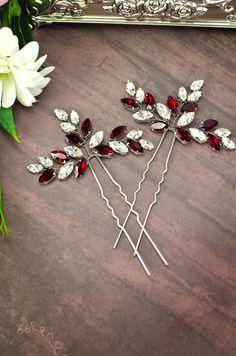 red rhinestone hair pins, red crystal hair pins, red hair accessories by MarinaUA