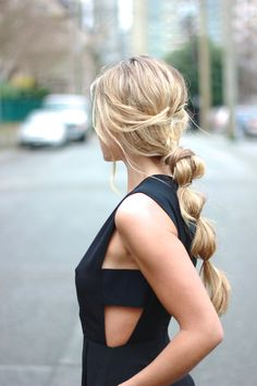 cut out dress. lovely hair.