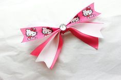 Large Pink and White Hello Kitty Hair Bow  Clip by BabyGeneration, $3.50