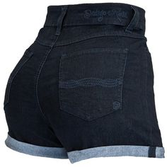Roll Cuff Denim Short (95 VEF) ❤ liked on Polyvore
