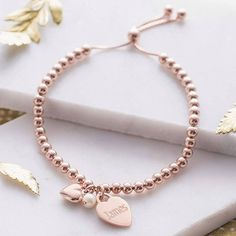 Hurleyburley Personalised Rose Gold Ball Slider Bracelet