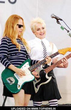 "Charlotte Caffey and and Jane Wiedlin - The Go-Go's at ""Good Morning America"". Guitar Girl, Music Guitar, Jane Wiedlin, Belinda Carlisle, Ziggy Played Guitar, Female Guitarist, Summer Rain, Good Morning America, Real Women"