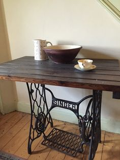 Singer sewing  machine table by HuttonandBrown on Etsy