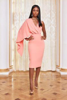 Apr 2020 - One Shoulder Caped Midi Dress in Cantaloupe – Lavish Alice Fall Dresses, Elegant Dresses, Beautiful Dresses, Nice Dresses, Chiffon Dresses, Long Dresses, Prom Dresses, Formal Dresses, Dress Outfits