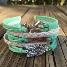 """2017 Mutual Theme Bracelet!  Owl charm - """"wisdom""""  Braided cord - """"upbraidedth not""""  Faith tag - """"ask in faith""""  Anchor charm - """"nothing wavering"""""""