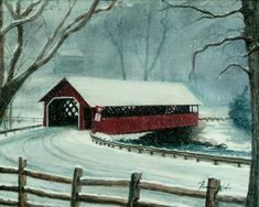The snow softens and cools the light that illuminates this covered bridge in Brattleboro Vermont. on a snowy winter afternoon. This painting was done for the label on my soy wax scented container candles available on e-bay Thomas Kinkade, New Hampshire, Motogp, Website Instagram, State Parks, Pennsylvania, Winter Szenen, Old Bridges, Jigsaw Puzzle