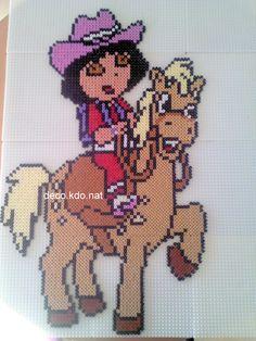 Dora riding hama beads by deco.kdo.nat:
