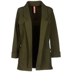 Met Blazer ($74) ❤ liked on Polyvore featuring outerwear, jackets, blazers, coats, coats & jackets, military green, blazer jacket, olive blazer, logo jackets and olive green blazer