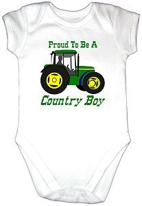 PROUD COUNTRY BOY Baby Grow Gro Clothes Vest U k TRACTOR
