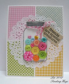 Cute button jar card with doily