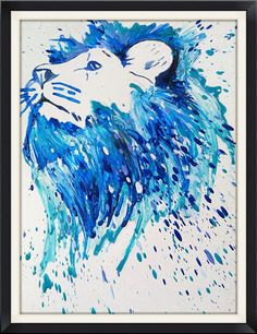 Crayon melted lion portrait. Multicolor bust of by MeltingMiltons facebook.com/meltingmiltons