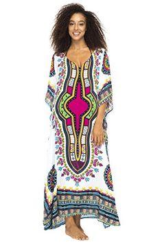8f0084043cb8f Ethnic Long Poncho White Womens Maxi Beach Dress Swimsuit Coverup Caftan  Back From Bali     Amazon most trusted e-retailer  BatikDresses