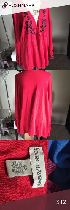 "Red sweater with embroidered detail Embroidery around neck line and sleeves. Some damage at one sleeves embroidery see photo 4. Chest 29"" length 31"" Seventh Avenue Sweaters V-Necks"