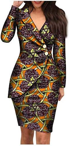 african dress styles Shop the latest collection of Autumn African Dresses Women Fashion Office Style V Neck Long Sleeve Midi Dress Bazin Riche African Print Clothing from the mos Latest African Fashion Dresses, African Dresses For Women, African Attire, Women's Fashion Dresses, African Print Clothing, African Print Dresses, African Print Fashion, African Dress Designs, African Dress Styles