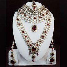 Off White Kundan Studded Bridal Necklace Set