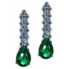Pendiente largo circonitas verdes esmeralda plata