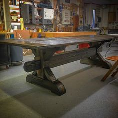 Trestle Table, Distressed Pine.