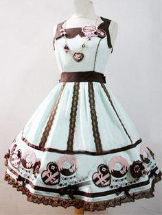 Light Green Sleeveless 100% Cotton Womens Lolita Dress