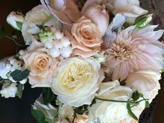 Cafe au Lait Dahlias, Garden Roses & Berries
